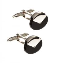 18CT WHITE GOLD BLACK ONYX CUFFLINKS at Ross's Jewellery Auctions