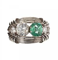 ANTIQUE FRENCH 18CT WHITE GOLD EMERALD AND DIAMOND RING by Emerald at Ross's Auctions