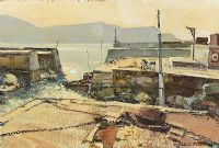 HARBOUR, WEST OF IRELAND by Cecil Maguire RUA at Ross's Auctions