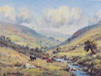 CATTLE GRAZING IN THE GLENS by Charles McAuley at Ross's Auctions