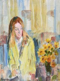 WOMAN WITH FLOWERS by Robert Taylor  Carson RUA at Ross's Auctions