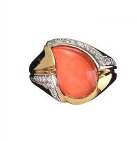 18CT GOLD CORAL AND DIAMOND DRESS RING at Ross's Jewellery Auctions