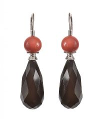 18CT WHITE GOLD CORAL AND ONYX DROP EARRINGS at Ross's Jewellery Auctions