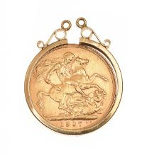 9CT GOLD MOUNTED FULL SOVEREIGN at Ross's Jewellery Auctions