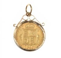 9CT GOLD MOUNTED HALF-SOVEREIGN at Ross's Jewellery Auctions