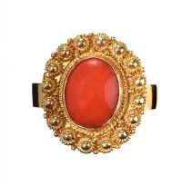 18CT GOLD CORAL DRESS RING at Ross's Jewellery Auctions