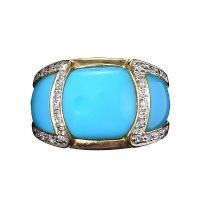 14CT GOLD DIAMOND AND TURQUOISE RING at Ross's Online Art Auctions