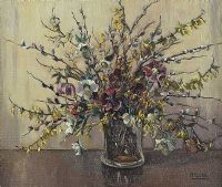 MIXED FLOWERS IN A GLASS VASE by Anne Primrose  Jury HRUA at Ross's Auctions