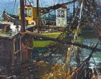 FISHING BOATS, ARDGLASS HARBOUR by Gerald Walby at Ross's Auctions