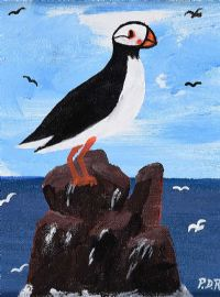 A TORY ISLAND PUFFIN by Patsy Dan  Rodgers at Ross's Auctions