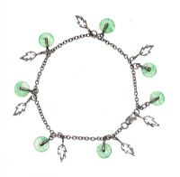 SILVER BRACELET SET WITH JADE at Ross's Jewellery Auctions