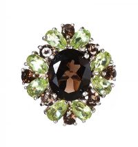 STERLING SILVER RING SET WITH SMOKY QUARTZ AND PERIDOT at Ross's Jewellery Auctions