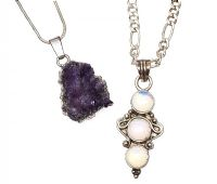 SILVER AMETHYST PENDANT AND CHAIN AND SILVER MOONSTONE at Ross's Jewellery Auctions