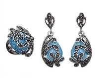 SILVER TURQUOISE AND MARCASITE-SET EARRINGS AND RING at Ross's Auctions