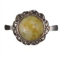 SILVER CONNEMARA MARBLE AND MARCASITE RING at Ross's Jewellery Auctions