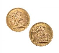TWO GOLD SOVEREIGN COINS at Ross's Jewellery Auctions