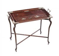 NINETEENTH CENTURY CHINESE SILVER INLAID HARDWOOD BUTLER'S TRAY at Ross's Auctions