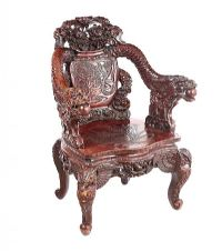 CHINESE CARVED HARDWOOD ARMCHAIR at Ross's Auctions