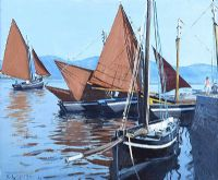 GALWAY HOOKERS, ROUNDSTONE by Cecil Maguire RUA at Ross's Auctions