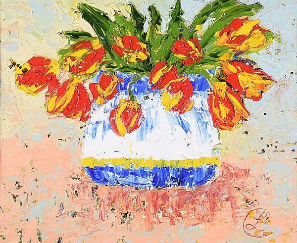 RED & YELLOW TULIPS by Lynda Cookson at Ross's Online Art Auctions