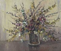 STILL LIFE, MIXED FLOWERS IN A GLASS VASE by Anne Primrose  Jury HRUA at Ross's Auctions