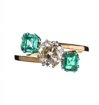 18CT GOLD DIAMOND AND EMERALD RING at Ross's Jewellery Auctions