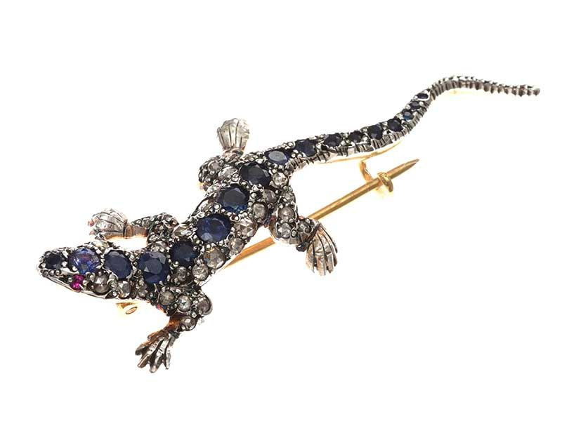 SAPPHIRE, RUBY AND DIAMOND-SET LIZARD BROOCH at Ross's Online Art Auctions