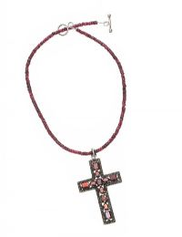 SOLID SILVER CROSS SET WITH GARNETS AND MARCASITE at Ross's Jewellery Auctions