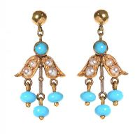 9CT GOLD SEED PEARL AND TUQUOISE EARRINGS by Turquoise at Ross's Auctions