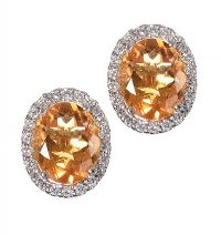 18CT WHITE GOLD CITRINE AND DIAMOND EARRINGS by Citrine at Ross's Auctions