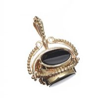9CT GOLD ONYX, BLOODSTONE AND CARNELIAN FOB at Ross's Jewellery Auctions
