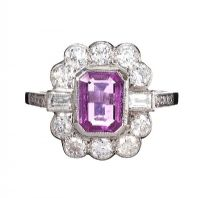 18CT WHITE GOLD FANCY PINK SAPPHIRE AND DIAMOND CLUSTER RING at Ross's Auctions