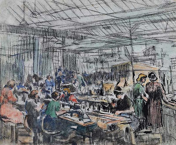 WORKING IN THE MILL by William Conor RHA RUA at Ross's Online Art Auctions