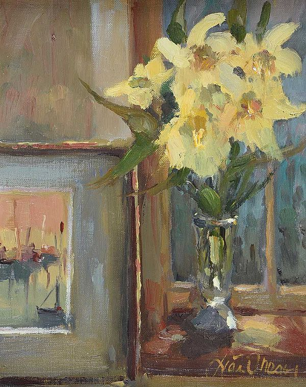 DAFFODILS & PICTURE by Liam Treacy at Ross's Online Art Auctions
