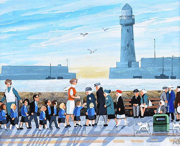 BRIDGING THE GENERATION GAP AT DONAGHADEE LIGHTHOUSE by Cupar Pilson at Ross's Online Art Auctions