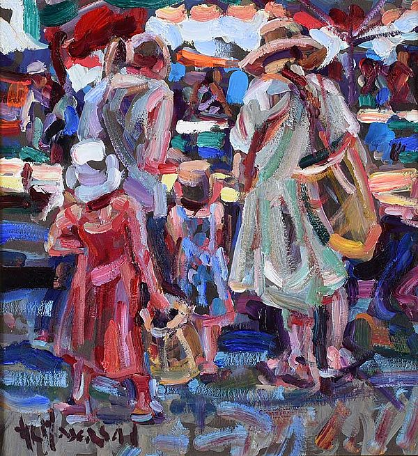MARKET DAY, LE VIGAN, SOUTH OF FRANCE by Arthur K. Maderson at Ross's Online Art Auctions