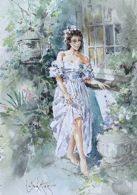 GIRL IN THE LILAC DRESS by Gordon King at Ross's Auctions