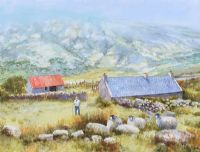 TENDING THE SHEEP IN GLENARIFF by Noel Shaw at Ross's Auctions