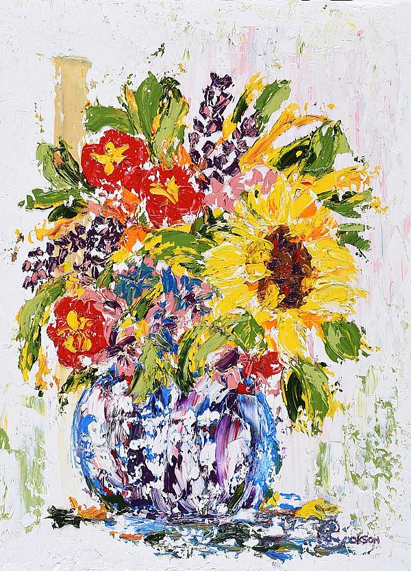 LONE SUNFLOWER by Lynda Cookson at Ross's Online Art Auctions