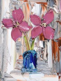 CERISE FLOWERS IN A VASE by Colin Flack at Ross's Auctions