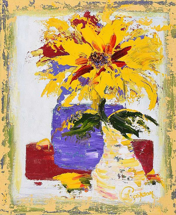 ABSTRACT SUNFLOWER by Lynda Cookson at Ross's Online Art Auctions