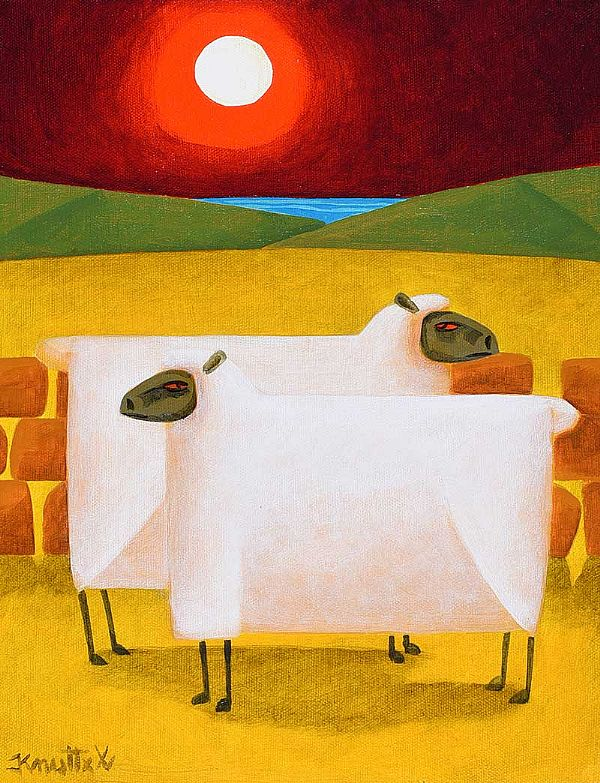 MOONLIGHT SHEEP by Graham Knuttel at Ross's Online Art Auctions