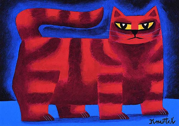 RED STRIPED CAT by Graham Knuttel at Ross's Online Art Auctions