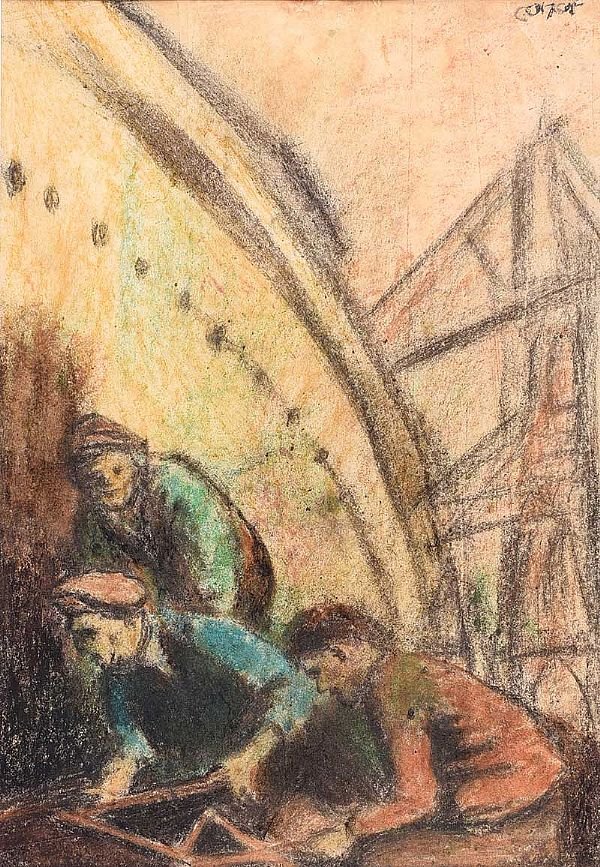 RIVETERS IN THE SHIPYARD by William Conor RHA RUA at Ross's Online Art Auctions