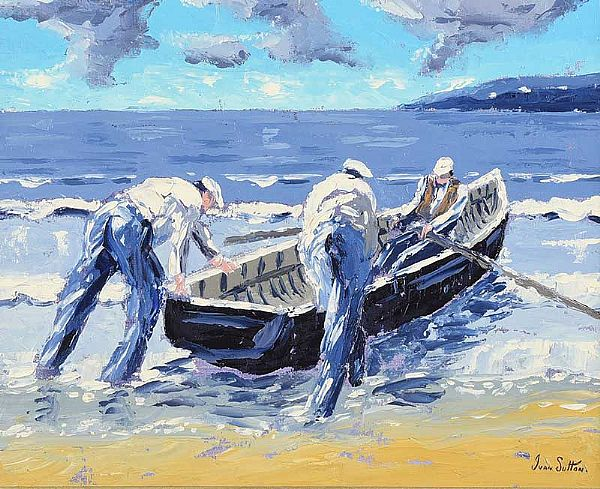 LAUNCHING THE CURRACH by Ivan Sutton at Ross's Online Art Auctions