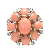 1960'S 18CT GOLD CORAL AND DIAMOND COCKTAIL RING at Ross's Jewellery Auctions