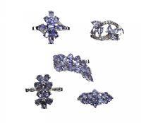 FIVE TANZANITE-SET STERLING SILVER RINGS at Ross's Jewellery Auctions