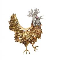 TIFFANY & CO. 18CT GOLD RUBY AND DIAMOND-SET 'ROOSTER' BROOCH at Ross's Online Art Auctions