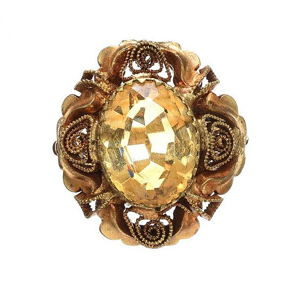 ANTIQUE 9CT GOLD CITRINE RING at Ross's Online Art Auctions