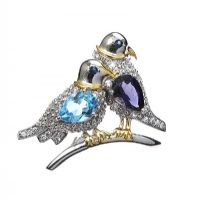 STERLING SILVER GEM-SET DOVE BIRD BROOCH by Cubic Zirconia at Ross's Auctions